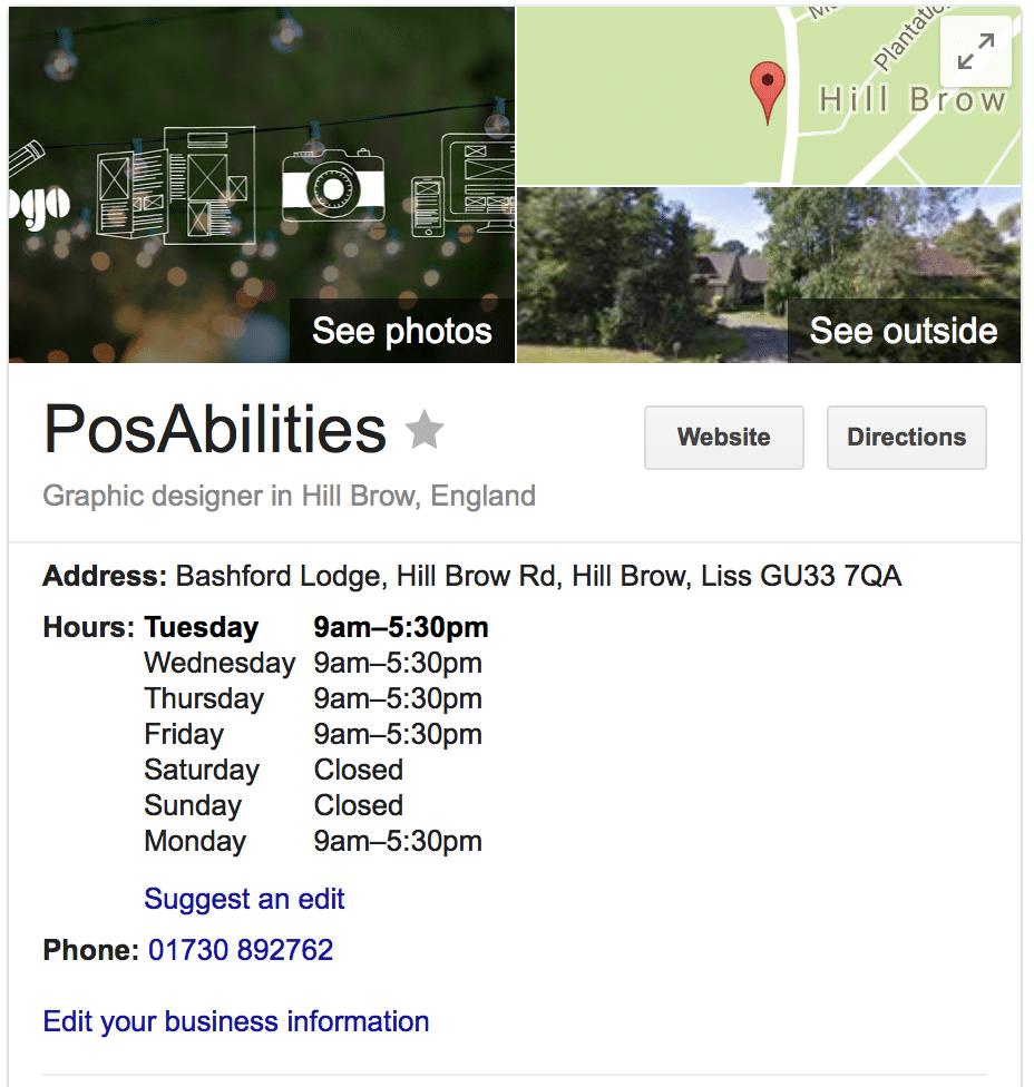 Google Business Details