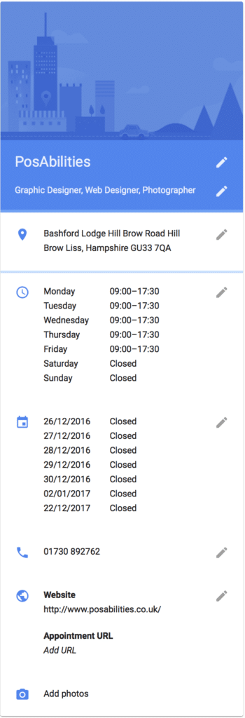 Google My Business Details
