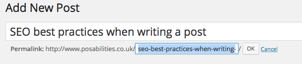 SEO Best Practices - WordPress Edit URL